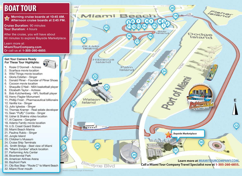 Carte de l'excursion de Miami par la mer