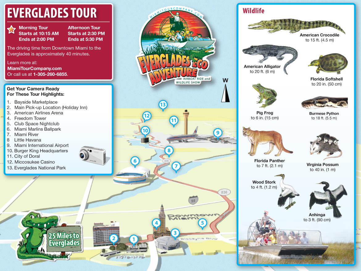 Carte de l'excursion dans les Everglades