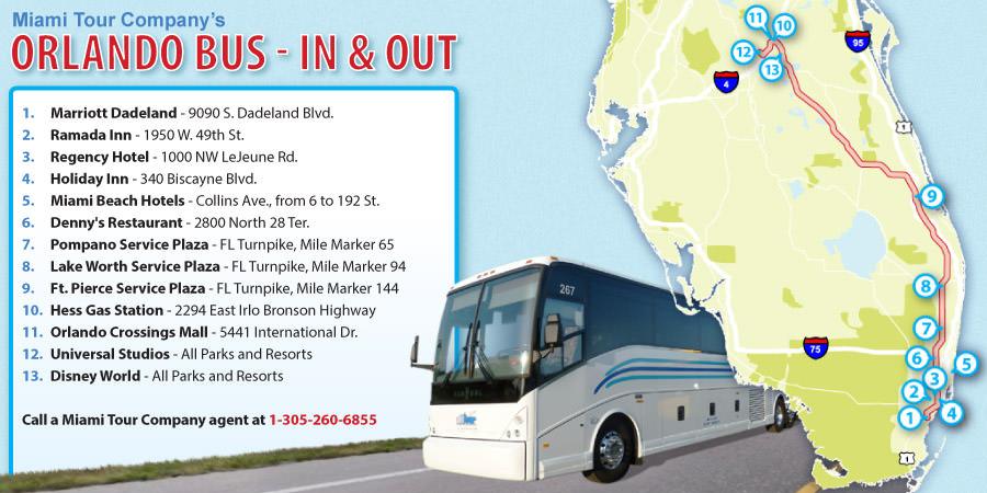 Karte des Transfers von Miami zu Orlando