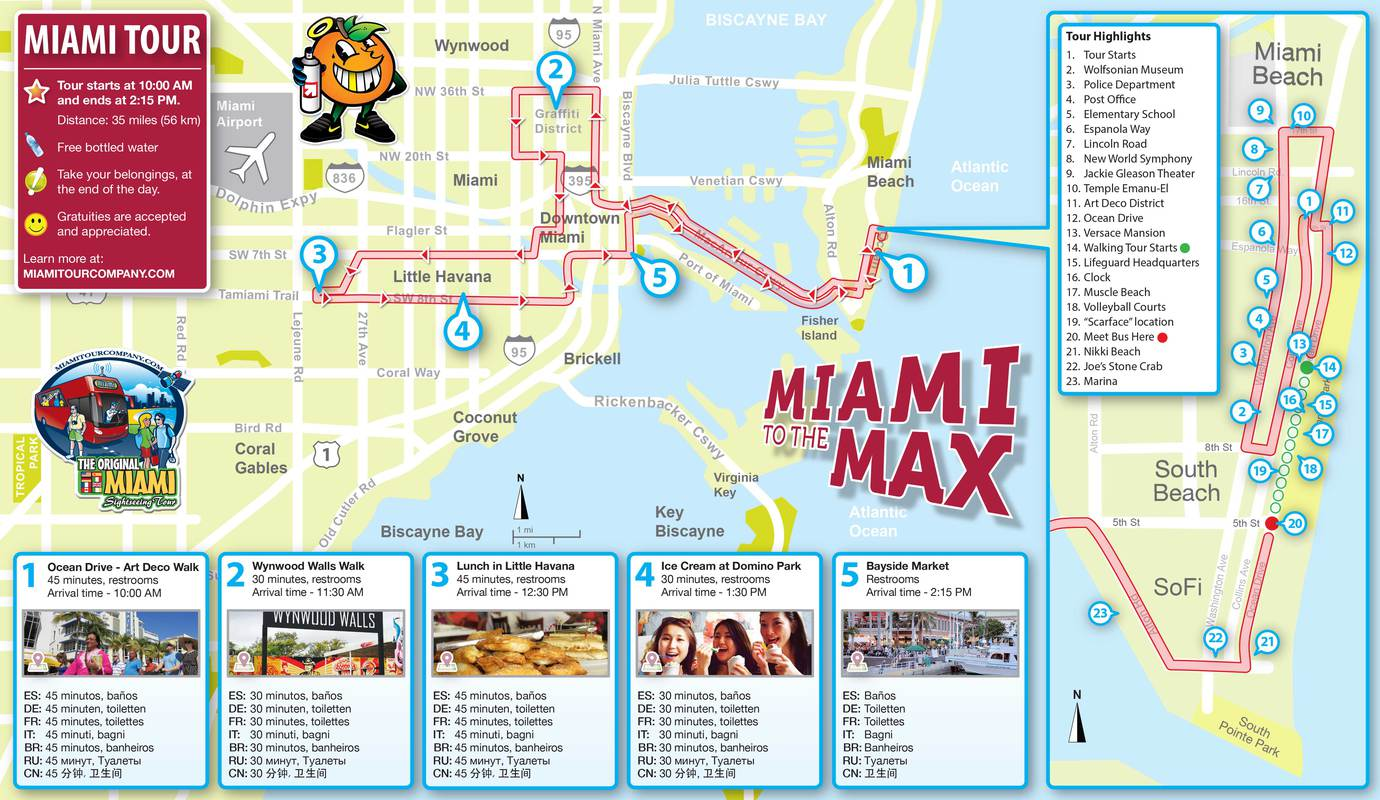 Mappa del Tour in Bus di Miami