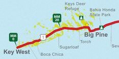 Mapa de las Llaves de Florida y Key West