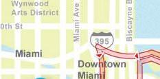 Karte der Busrundfahrt durch Miami
