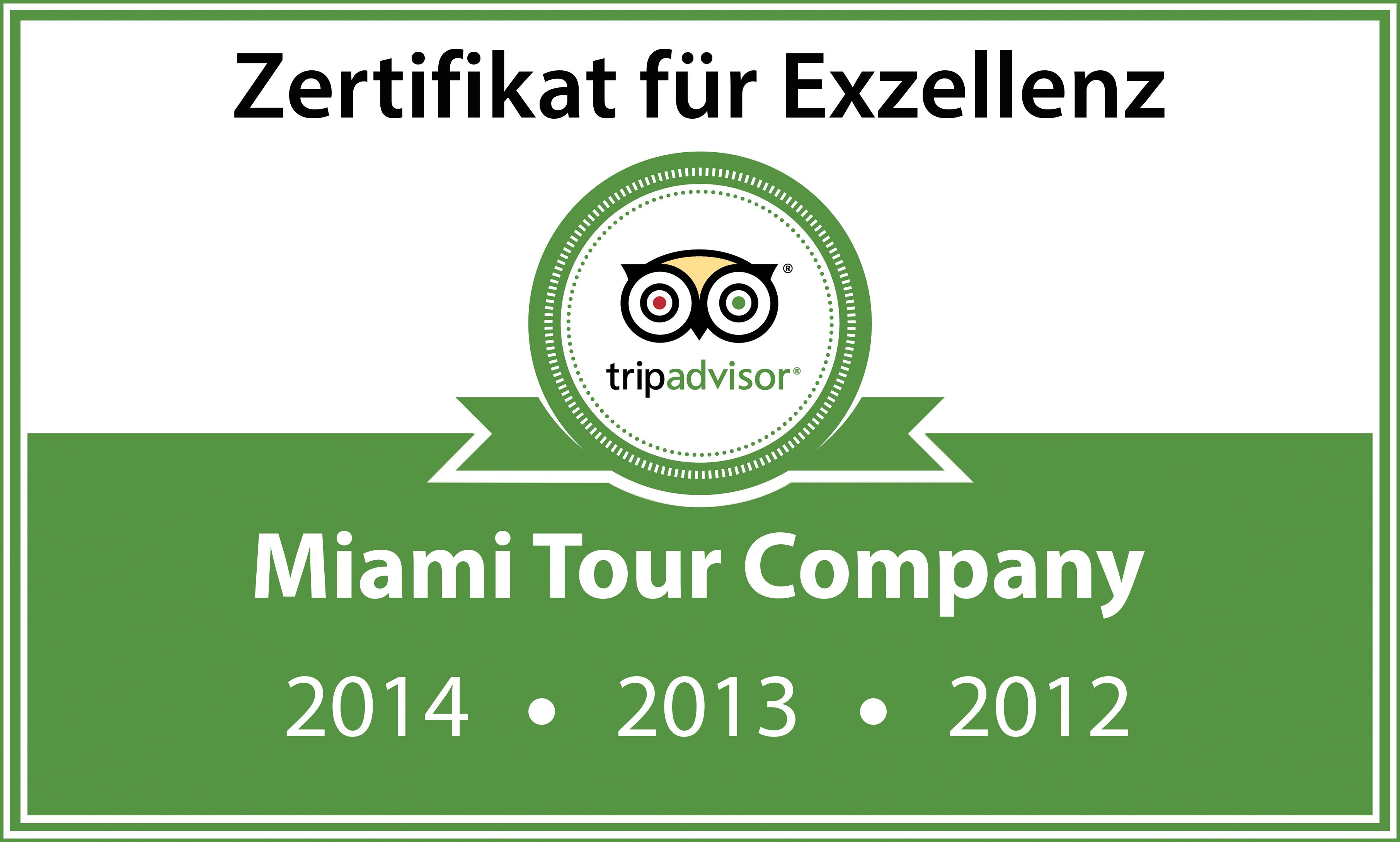 Zertifikat für Exzellenz von TripAdvisor wird für ausgezeichenete Kundenbeurteilung verleihen