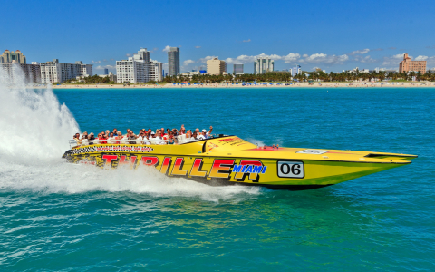 🚤 Thriller, le bateau hyper rapide à sensations fortes  +🚀 excursion en ville « Miami To The Max » ! (Combo)